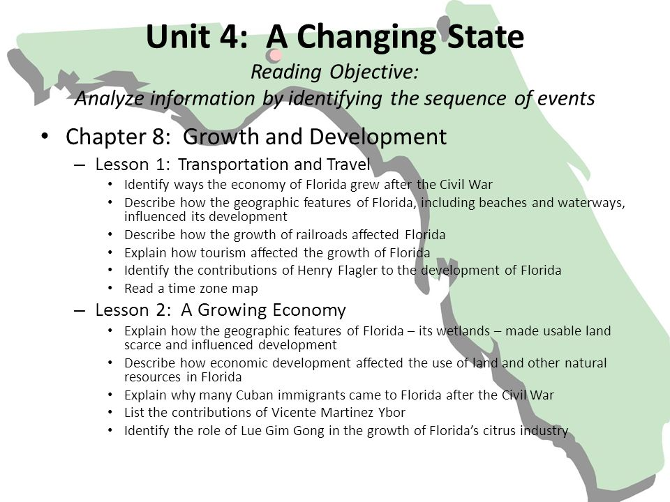 Unit 4: A Changing State Reading Objective: Analyze information by identifying the sequence of events Chapter 8: Growth and Development – Lesson 1: Tr