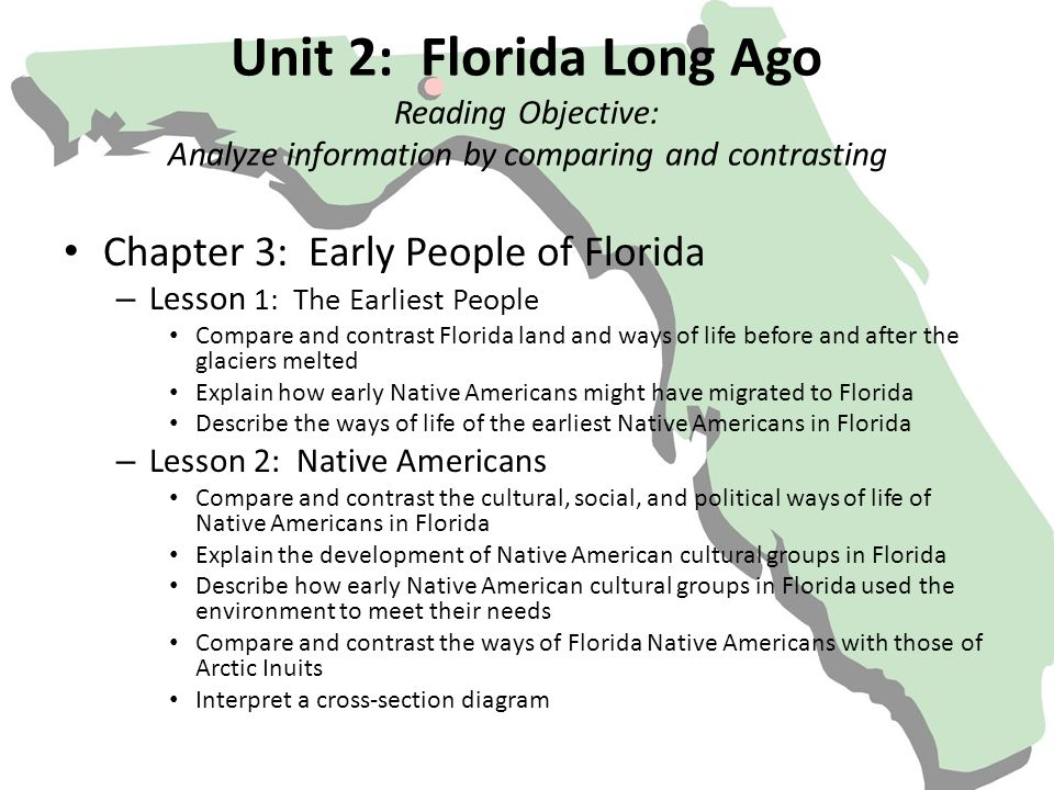 Unit 2: Florida Long Ago Reading Objective: Analyze information by comparing and contrasting Chapter 3: Early People of Florida – Lesson 1: The Earlie