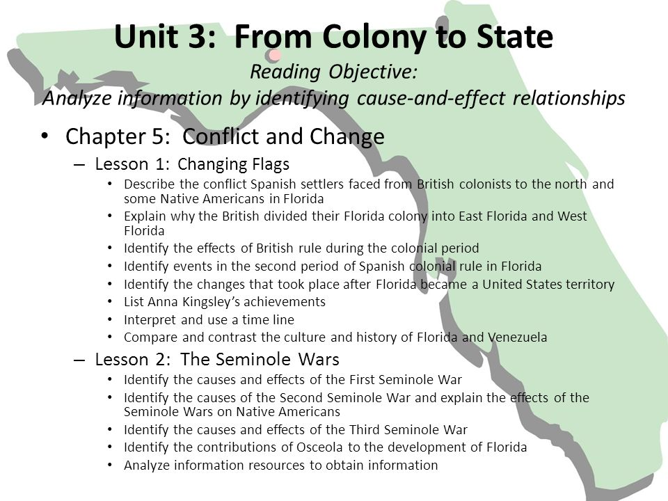 Unit 3: From Colony to State Reading Objective: Analyze information by identifying cause-and-effect relationships Chapter 5: Conflict and Change – Les