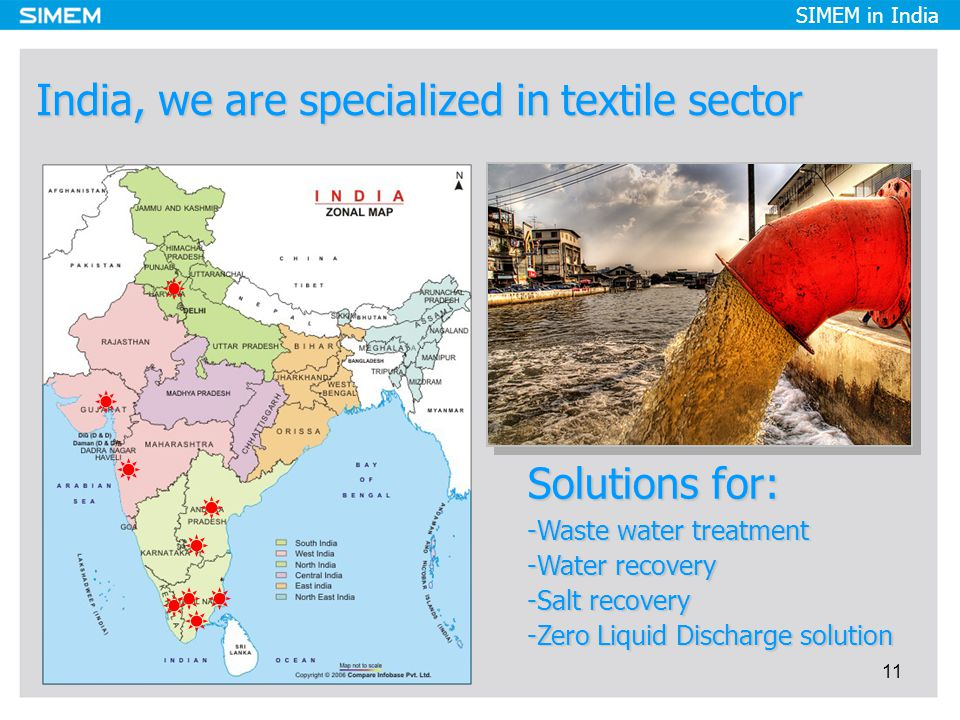 SIMEM in India India, we are specialized in textile sector 11 Solutions for: -Waste water treatment -Water recovery -Salt recovery -Zero Liquid Discharge solution