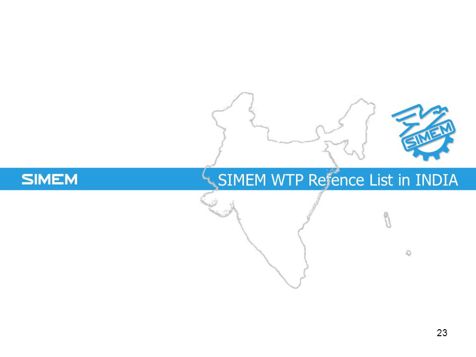 SIMEM WTP Refence List in INDIA 23