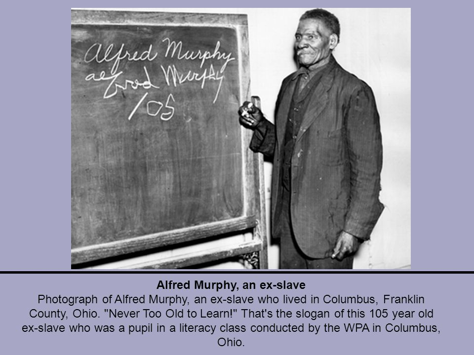 Alfred Murphy, an ex-slave Photograph of Alfred Murphy, an ex-slave who lived in Columbus, Franklin County, Ohio.