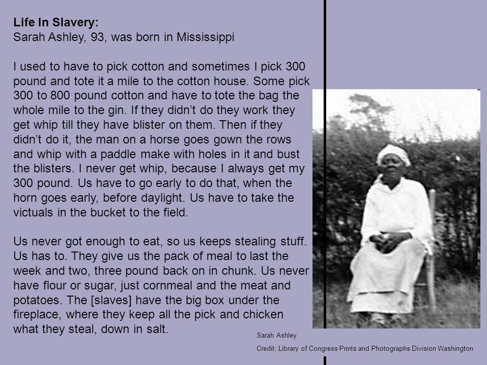 Life In Slavery: Sarah Ashley, 93, was born in Mississippi I used to have to pick cotton and sometimes I pick 300 pound and tote it a mile to the cotton house.