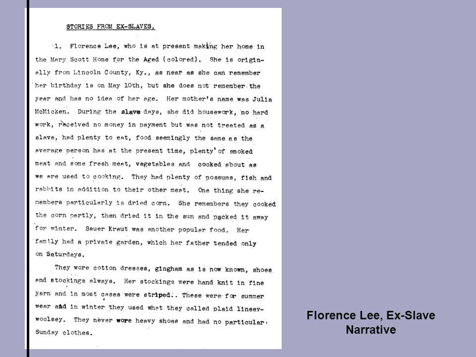 Florence Lee, Ex-Slave Narrative