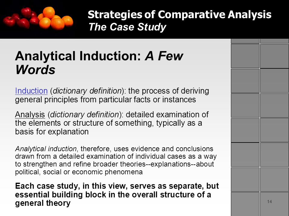 14 Analytical Induction: A Few Words Induction (dictionary definition): the process of deriving general principles from particular facts or instances Analysis (dictionary definition): detailed examination of the elements or structure of something, typically as a basis for explanation Analytical induction, therefore, uses evidence and conclusions drawn from a detailed examination of individual cases as a way to strengthen and refine broader theories--explanations--about political, social or economic phenomena Each case study, in this view, serves as separate, but essential building block in the overall structure of a general theory Strategies of Comparative Analysis The Case Study