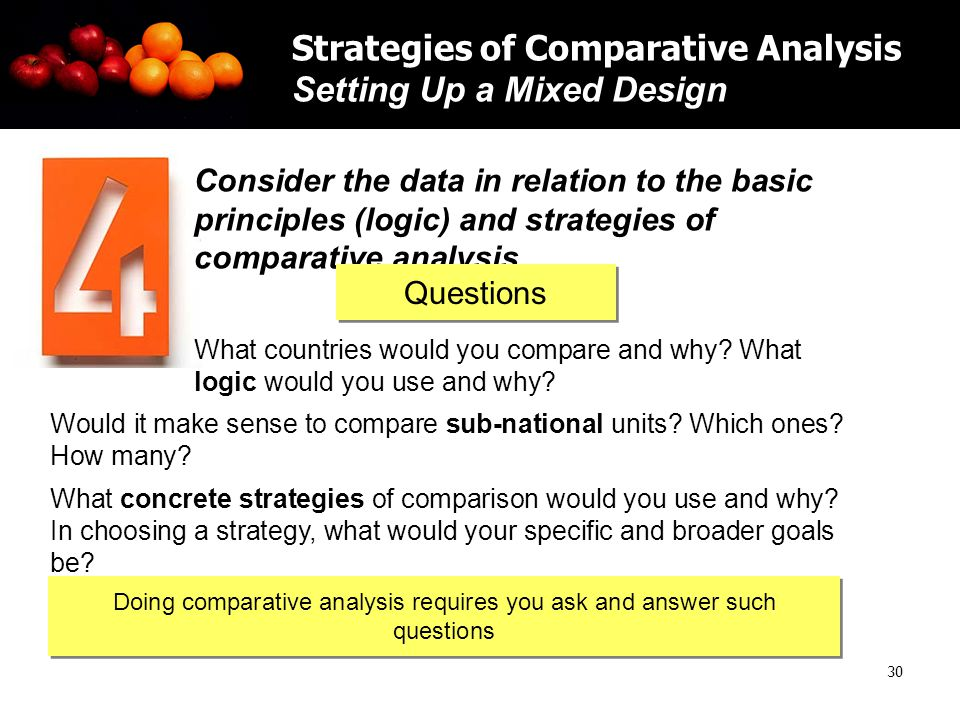 30 Strategies of Comparative Analysis Setting Up a Mixed Design Consider the data in relation to the basic principles (logic) and strategies of comparative analysis What countries would you compare and why.