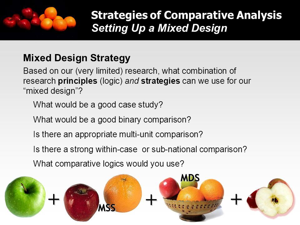 32 Mixed Design Strategy Based on our (very limited) research, what combination of research principles (logic) and strategies can we use for our mixed design .