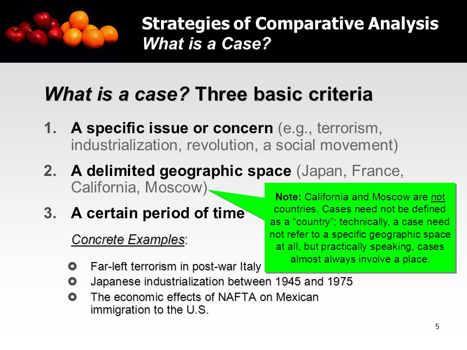 5 What is a case. Three basic criteria 1.