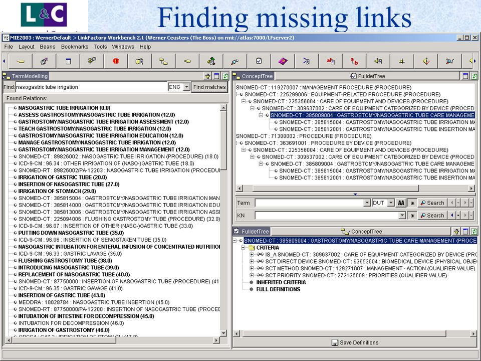 www.landc.be Finding missing links