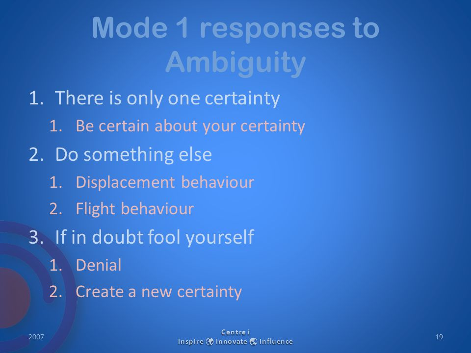Mode 1 responses to Ambiguity 1.There is only one certainty 1.Be certain about your certainty 2.Do something else 1.Displacement behaviour 2.Flight be