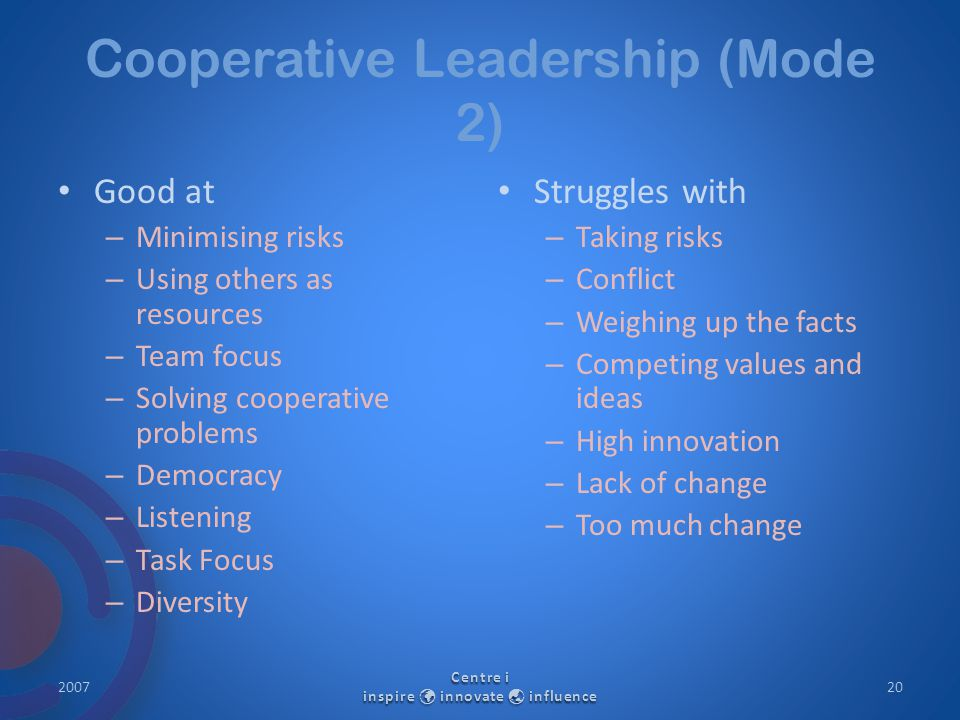 Cooperative Leadership (Mode 2) Good at – Minimising risks – Using others as resources – Team focus – Solving cooperative problems – Democracy – Listening – Task Focus – Diversity Struggles with – Taking risks – Conflict – Weighing up the facts – Competing values and ideas – High innovation – Lack of change – Too much change 2007 Centre i inspire innovate  influence 20
