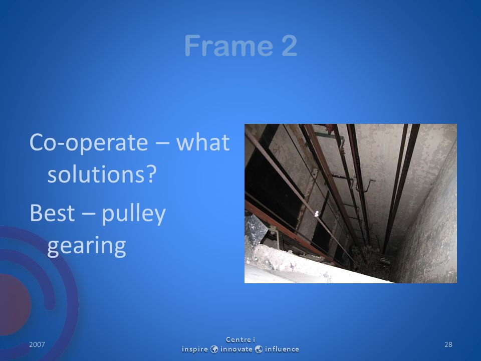 Frame 2 Co-operate – what solutions? Best – pulley gearing 2007 Centre i inspire innovate  influence 28