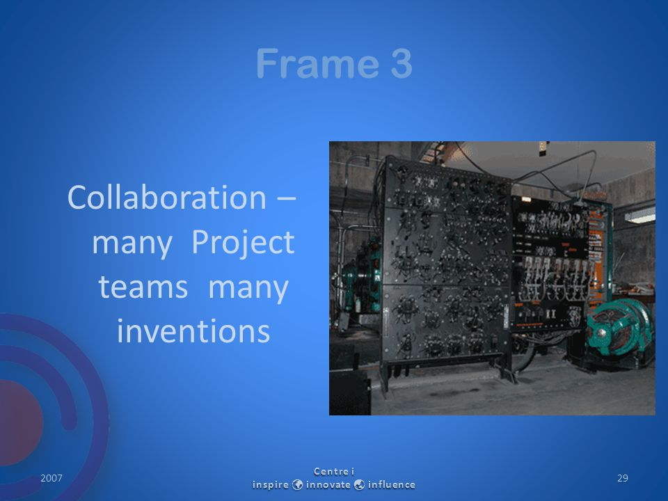 Frame 3 Collaboration – many Project teams many inventions 2007 Centre i inspire innovate  influence 29