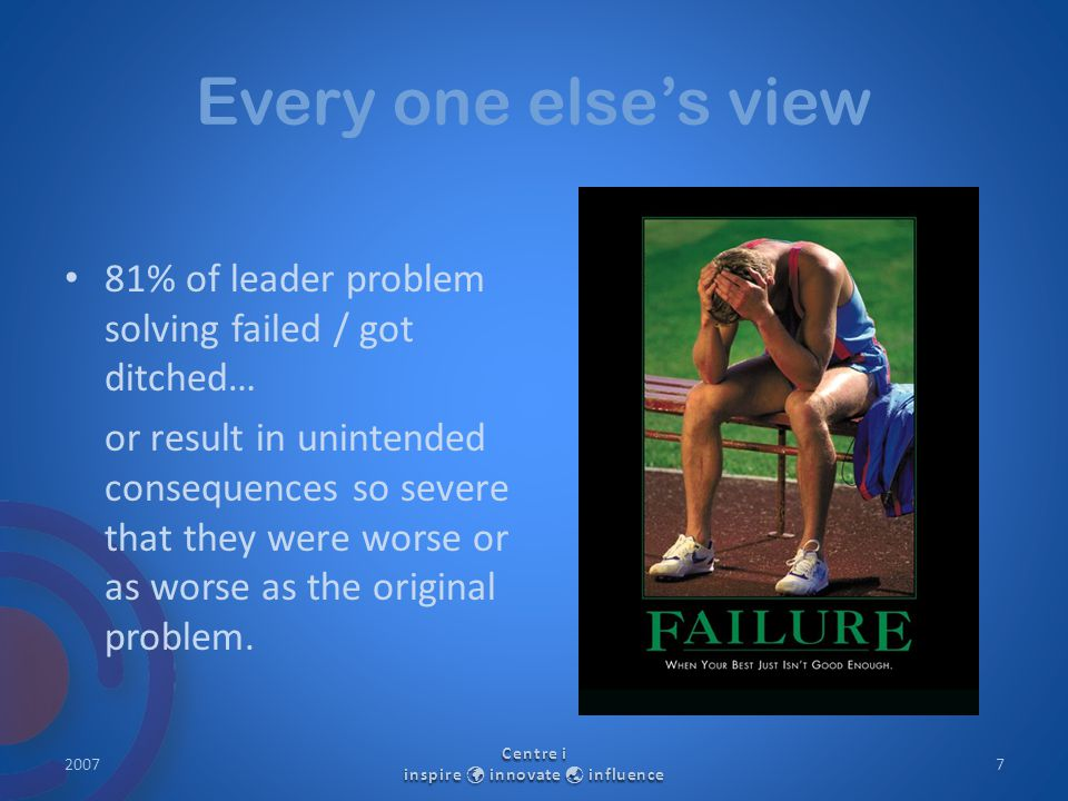 Every one else's view 81% of leader problem solving failed / got ditched… or result in unintended consequences so severe that they were worse or as wo