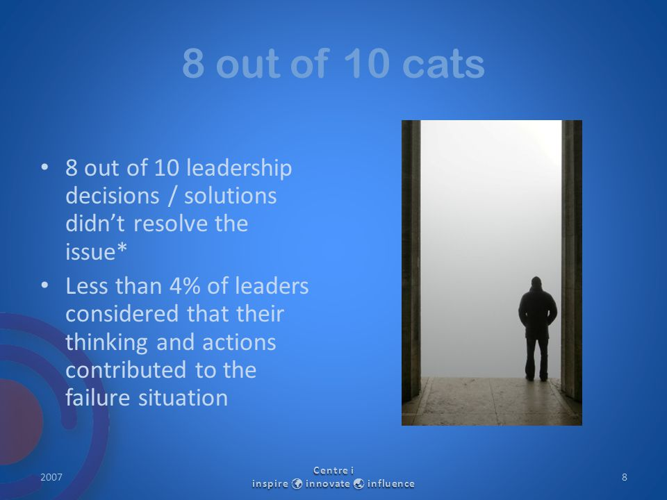 8 out of 10 cats 8 out of 10 leadership decisions / solutions didn't resolve the issue* Less than 4% of leaders considered that their thinking and act