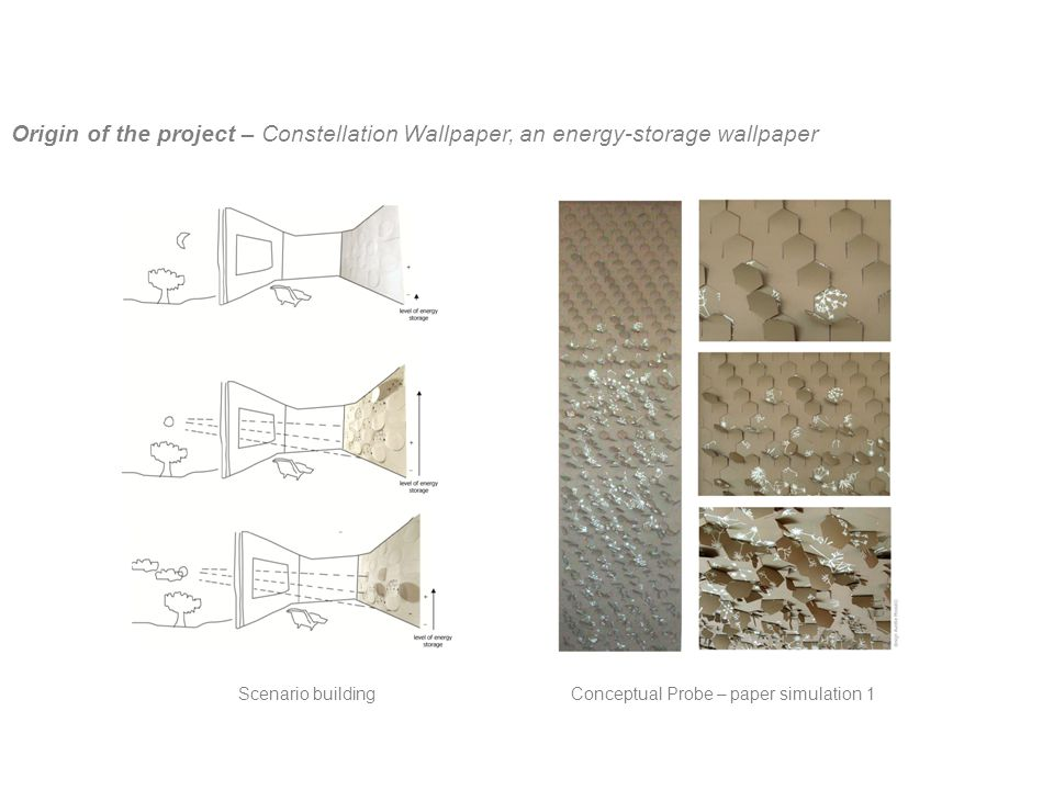 Conceptual Probe – paper simulation 1Scenario building Origin of the project – Constellation Wallpaper, an energy-storage wallpaper