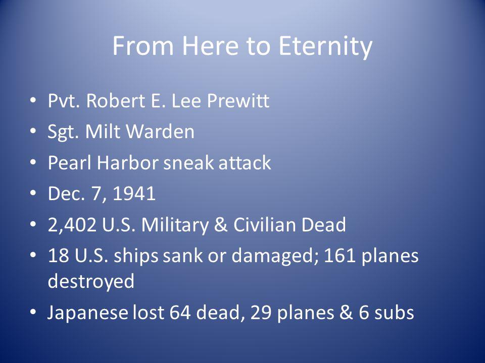 From Here to Eternity Pvt. Robert E. Lee Prewitt Sgt.