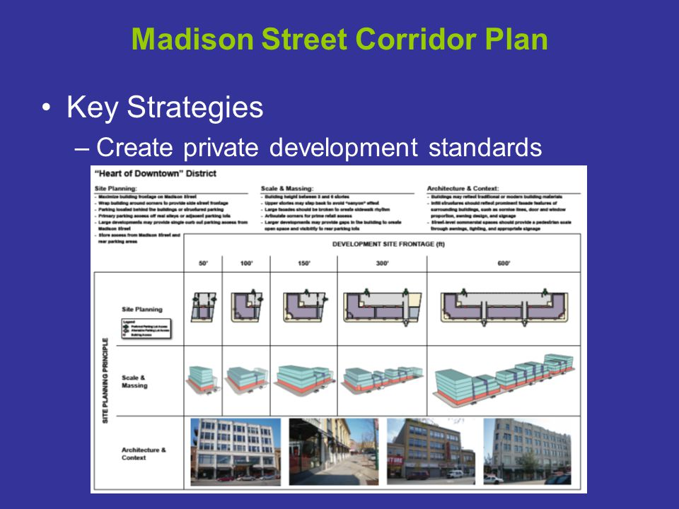 Madison Street Corridor Plan Key Strategies –Create private development standards