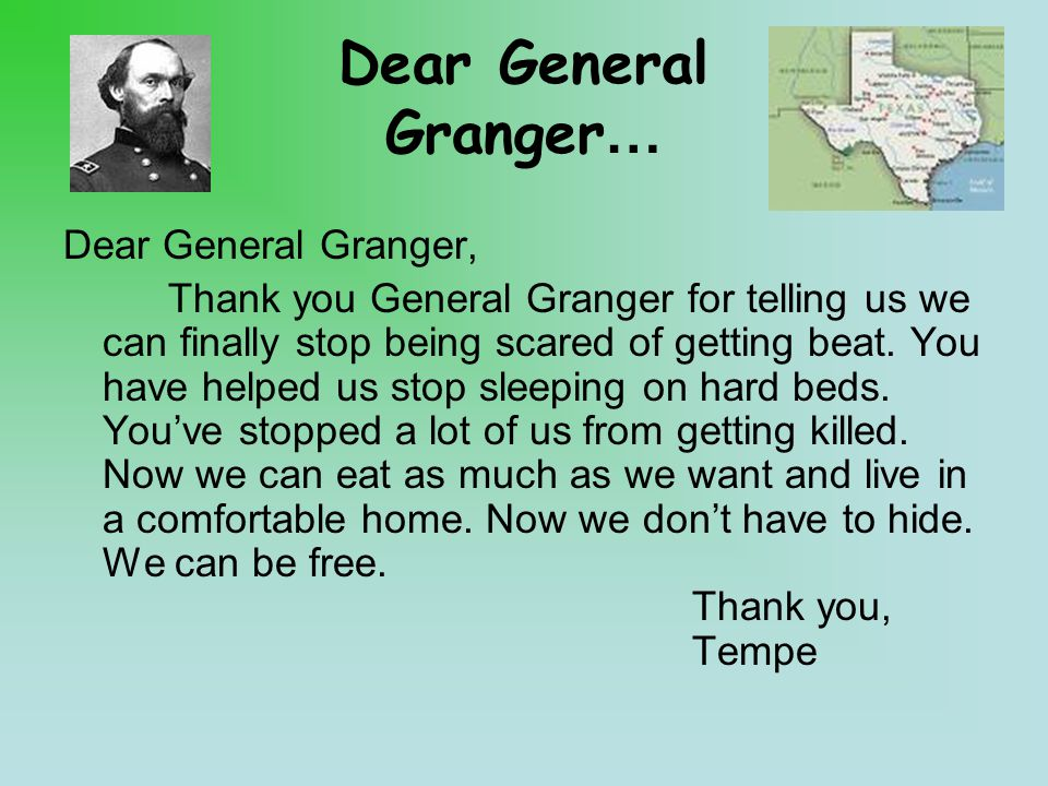 Dear General Granger… Dear General Granger, Thank you General Granger for telling us we can finally stop being scared of getting beat.