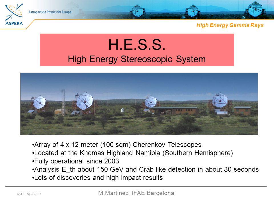 M.Martinez IFAE Barcelona ASPERA - 2007 High Energy Gamma Rays H.E.S.S. High Energy Stereoscopic System Array of 4 x 12 meter (100 sqm) Cherenkov Tele