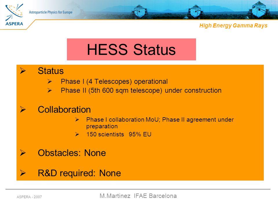 M.Martinez IFAE Barcelona ASPERA - 2007 HESS Status  Status  Phase I (4 Telescopes) operational  Phase II (5th 600 sqm telescope) under constructio
