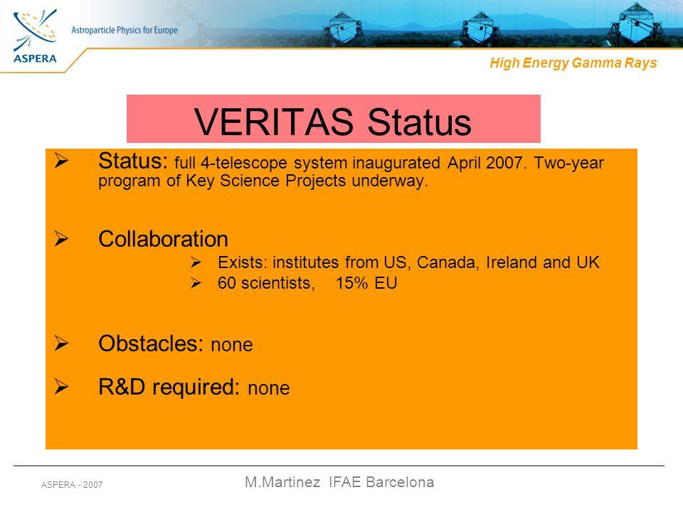 M.Martinez IFAE Barcelona ASPERA - 2007 VERITAS Status  Status: full 4-telescope system inaugurated April 2007. Two-year program of Key Science Proje
