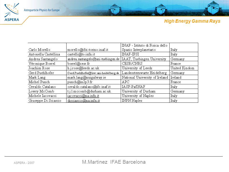 M.Martinez IFAE Barcelona ASPERA - 2007 High Energy Gamma Rays