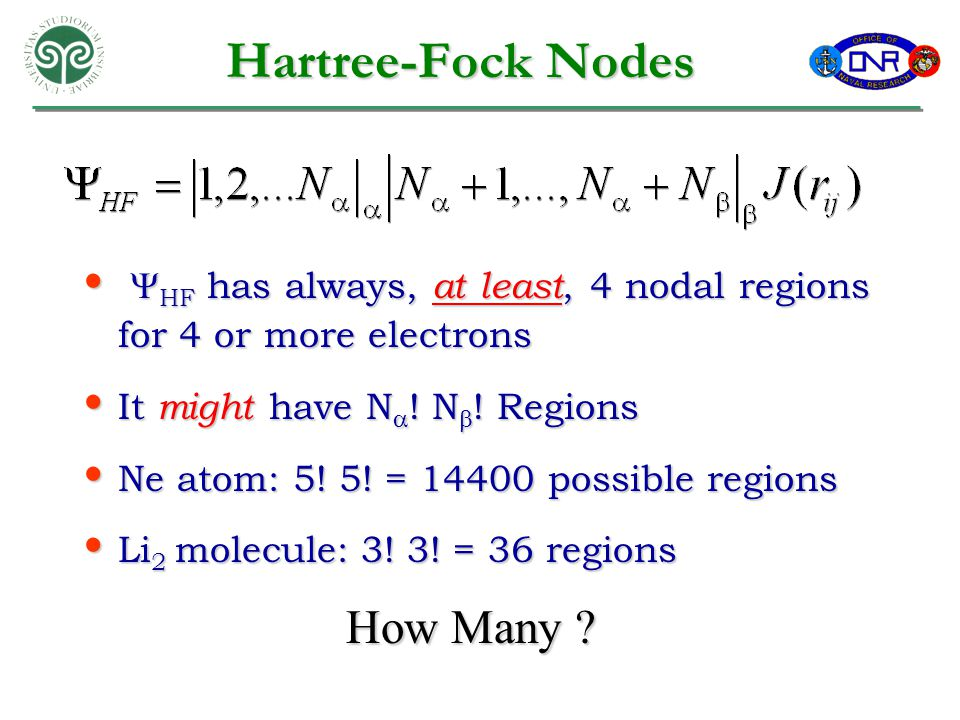 Hartree-Fock Nodes  HF has always, at least, 4 nodal regions for 4 or more electrons  HF has always, at least, 4 nodal regions for 4 or more electrons It might have N  .