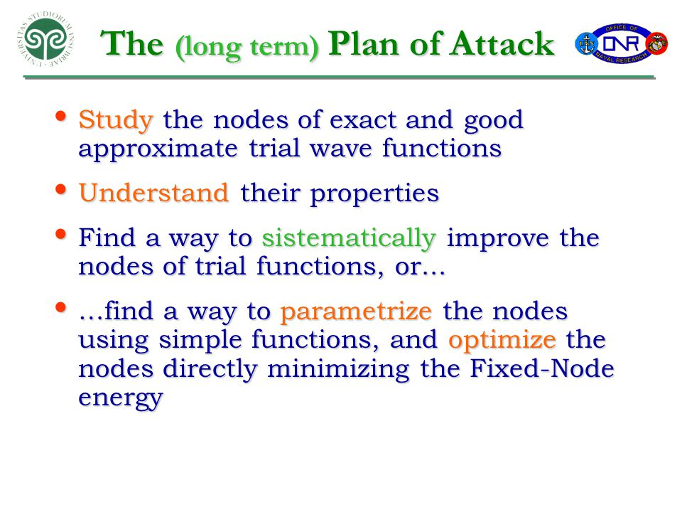 The (long term) Plan of Attack Study the nodes of exact and good approximate trial wave functions Study the nodes of exact and good approximate trial wave functions Understand their properties Understand their properties Find a way to sistematically improve the nodes of trial functions, or...