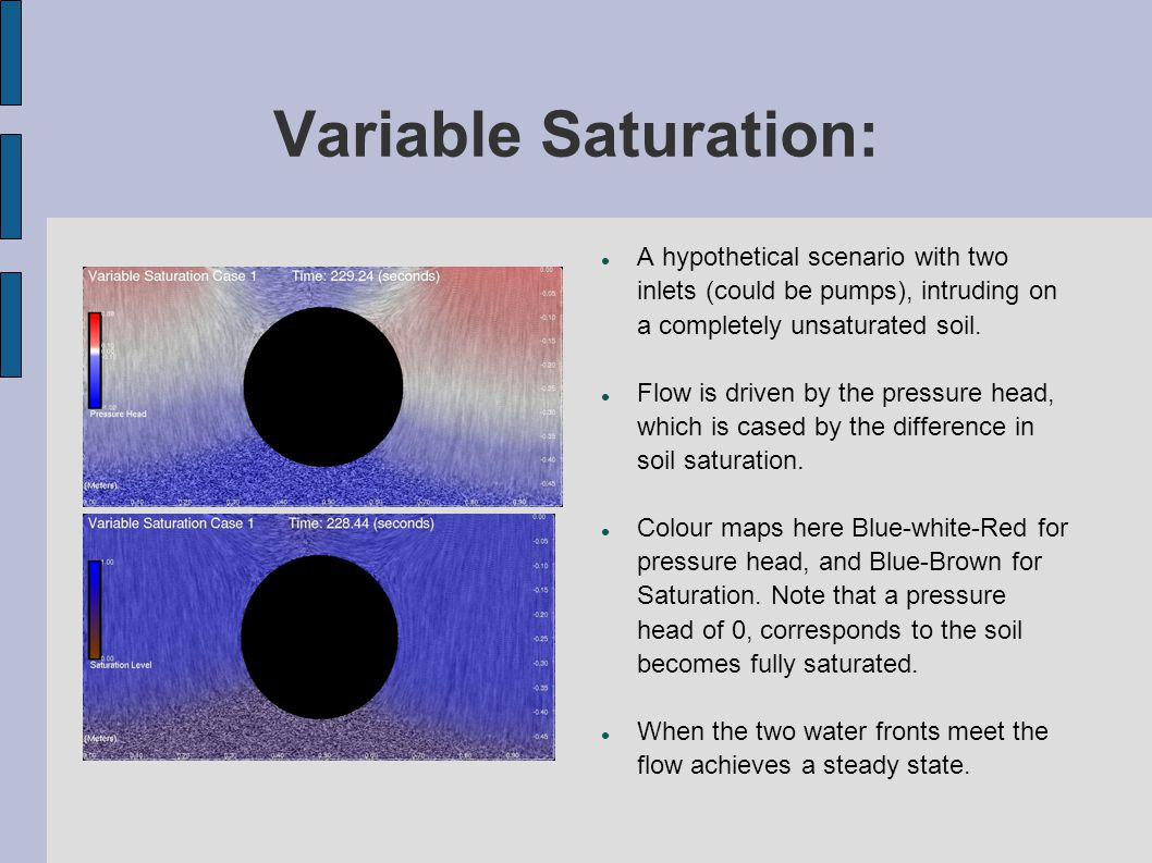 Variable Saturation: A hypothetical scenario with two inlets (could be pumps), intruding on a completely unsaturated soil.