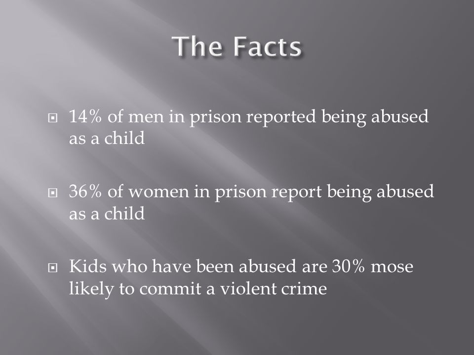  14% of men in prison reported being abused as a child  36% of women in prison report being abused as a child  Kids who have been abused are 30% mose likely to commit a violent crime