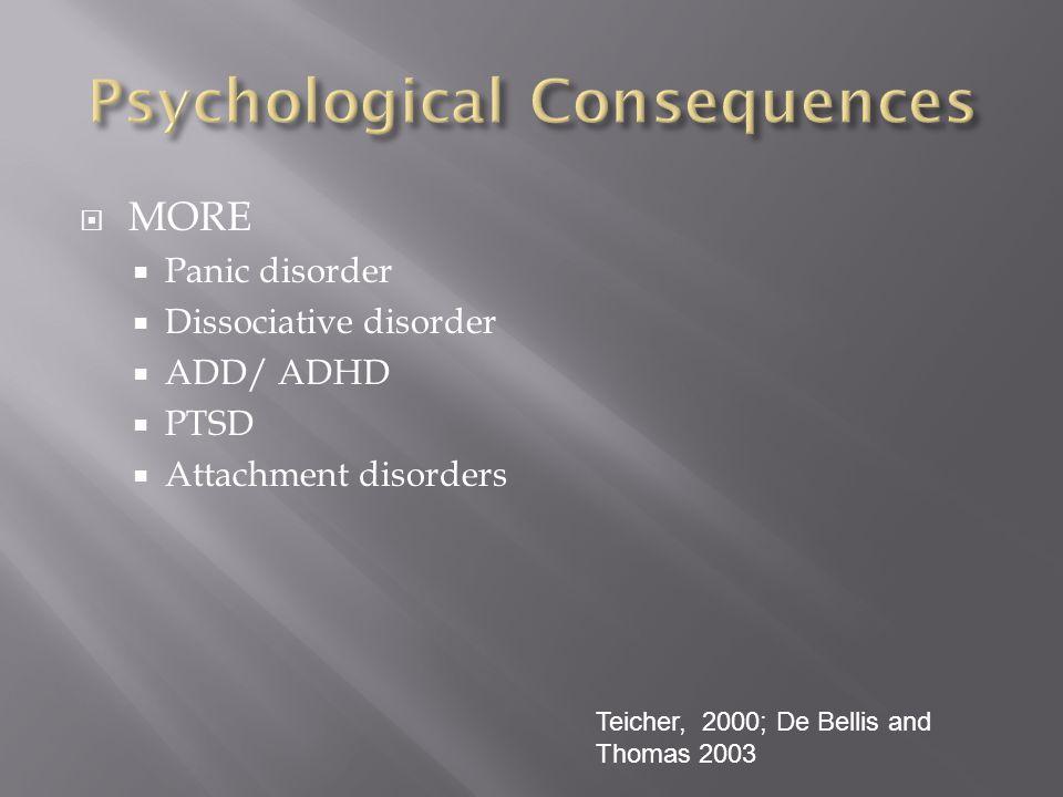  MORE  Panic disorder  Dissociative disorder  ADD/ ADHD  PTSD  Attachment disorders Teicher, 2000; De Bellis and Thomas 2003