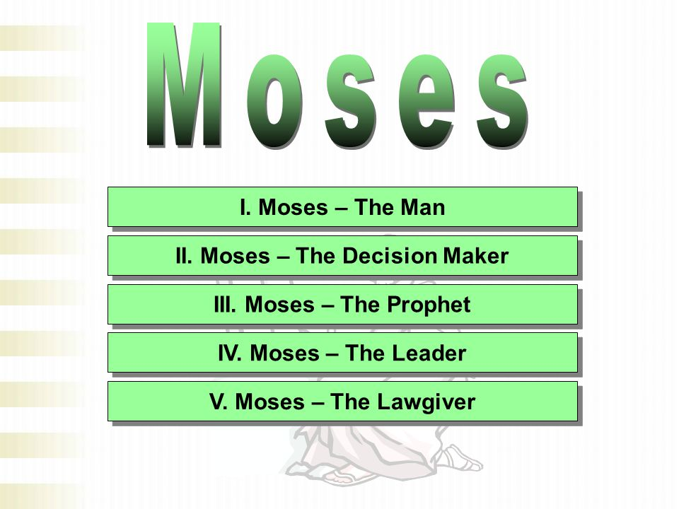 I. Moses – The Man II. Moses – The Decision Maker III.