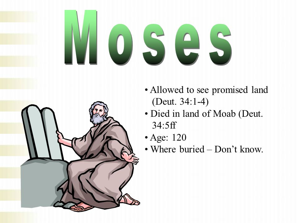 Allowed to see promised land (Deut. 34:1-4) Died in land of Moab (Deut. 34:5ff Age: 120 Where buried – Don't know.