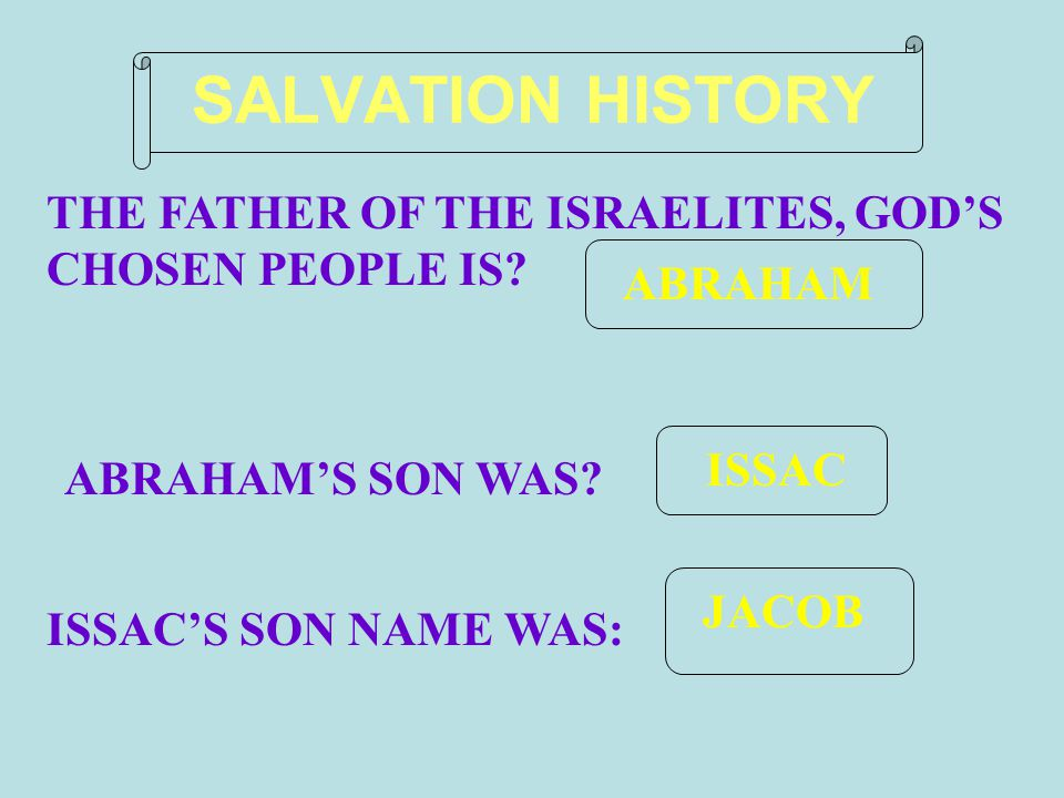 JACOB ISSAC ABRAHAM SALVATION HISTORY THE FATHER OF THE ISRAELITES, GOD'S CHOSEN PEOPLE IS.