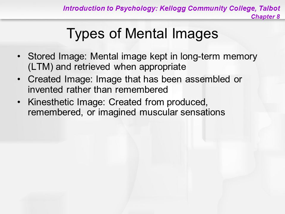 Introduction to Psychology: Kellogg Community College, Talbot Chapter 8 Types of Mental Images Stored Image: Mental image kept in long-term memory (LT