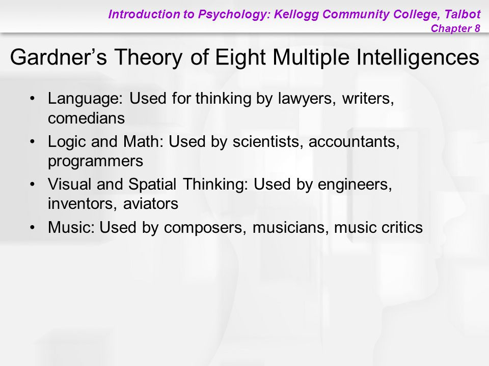 Introduction to Psychology: Kellogg Community College, Talbot Chapter 8 Gardner's Theory of Eight Multiple Intelligences Language: Used for thinking b