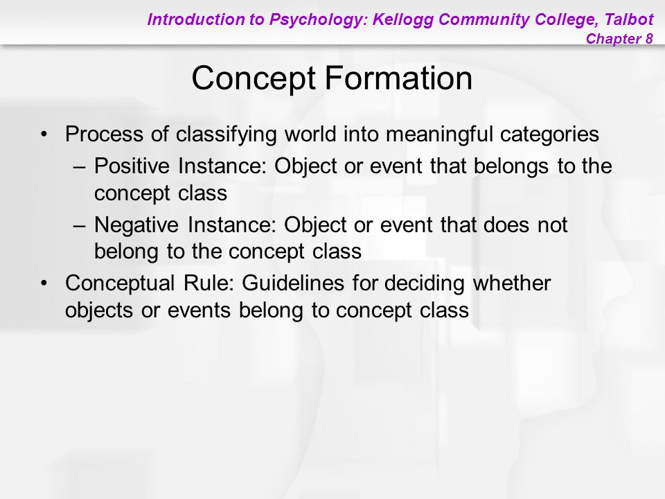 Introduction to Psychology: Kellogg Community College, Talbot Chapter 8 Concept Formation Process of classifying world into meaningful categories –Pos