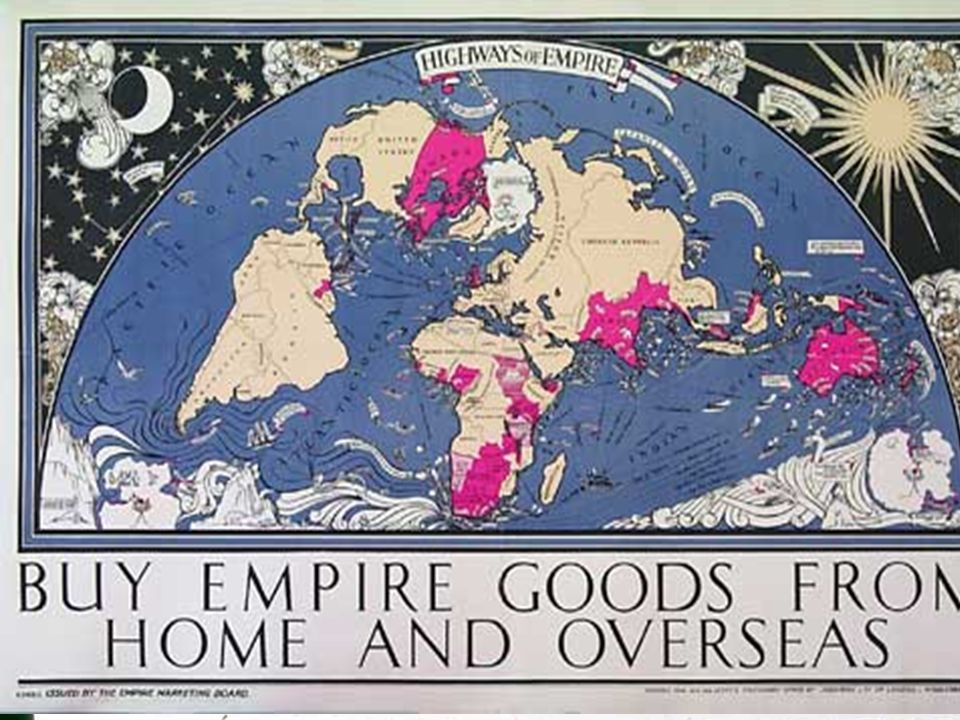 The New Imperialism At its largest territorial extent, the British Empire (shaded ares to the left) covered about 20% of the earth's total landmass. T
