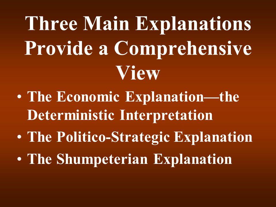 Three Main Explanations Provide a Comprehensive View The Economic Explanation—the Deterministic Interpretation The Politico-Strategic Explanation The