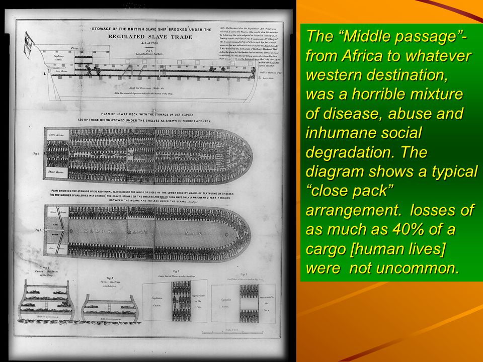 The Middle passage - from Africa to whatever western destination, was a horrible mixture of disease, abuse and inhumane social degradation.