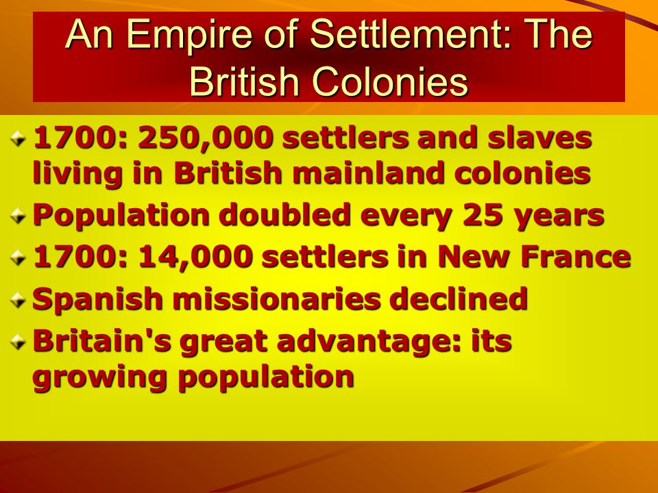 An Empire of Settlement: The British Colonies 1700: 250,000 settlers and slaves living in British mainland colonies Population doubled every 25 years 1700: 14,000 settlers in New France Spanish missionaries declined Britain s great advantage: its growing population