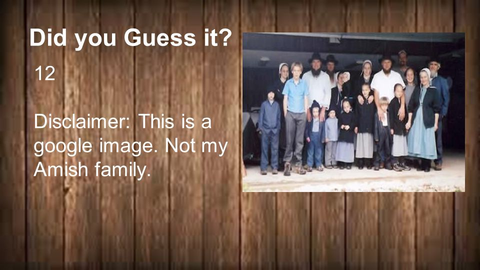 Did you Guess it 12 Disclaimer: This is a google image. Not my Amish family. 2 + 2 ____ = 4