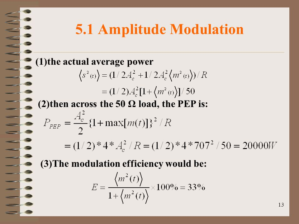 13 5.1 Amplitude Modulation (2)then across the 50 Ω load, the PEP is: (3)The modulation efficiency would be: (1)the actual average power