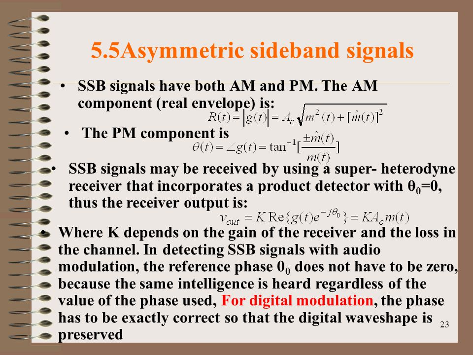 23 5.5Asymmetric sideband signals SSB signals have both AM and PM.