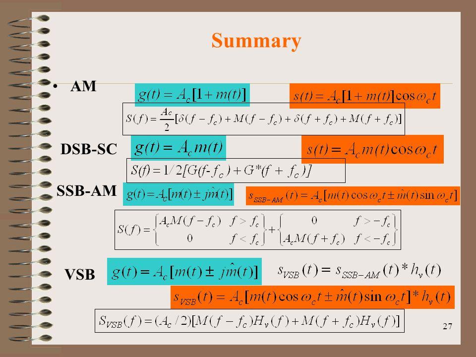 27 Summary AM DSB-SC SSB-AM VSB