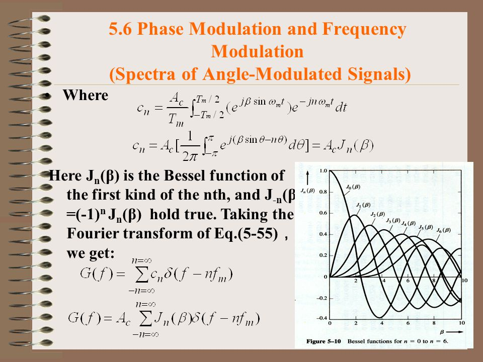 39 5.6 Phase Modulation and Frequency Modulation (Spectra of Angle-Modulated Signals) Where Here J n (β) is the Bessel function of the first kind of the nth, and J -n (β) =(-1) n J n (β) hold true.
