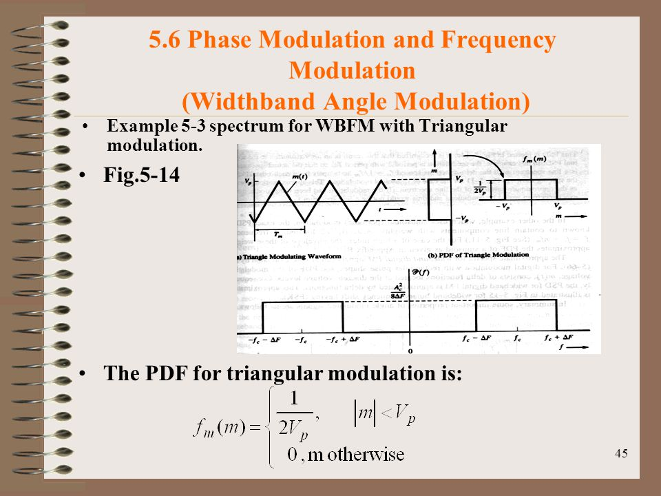 45 5.6 Phase Modulation and Frequency Modulation (Widthband Angle Modulation) Example 5-3 spectrum for WBFM with Triangular modulation.
