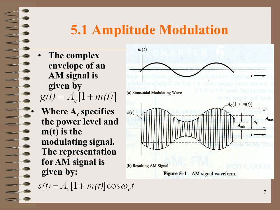 7 5.1 Amplitude Modulation The complex envelope of an AM signal is given by Where A c specifies the power level and m(t) is the modulating signal.