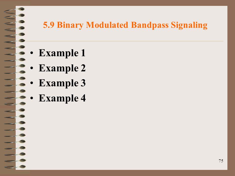 75 5.9 Binary Modulated Bandpass Signaling Example 1 Example 2 Example 3 Example 4